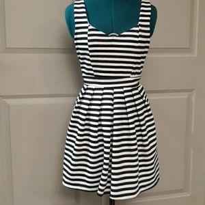 Fit-n-flare striped skater dress